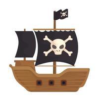 pirate wooden ship vector