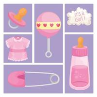 baby six icons vector