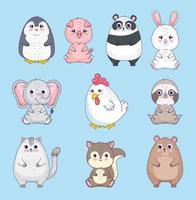 ten cute animals vector