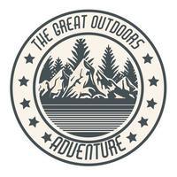 parche de montañas de camping vector