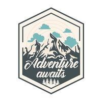 montañas de parche de camping vector