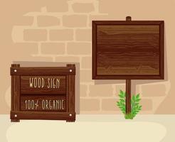 madera dos señales vector
