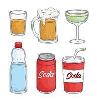 seis iconos de bebidas vector