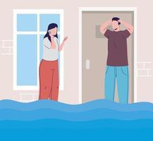 couple in flood vector