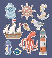 ten marine icons vector