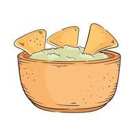 nachos with guacamole vector