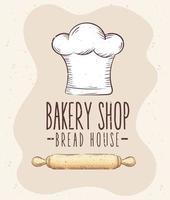 Letras de panadería con gorro de cocinero y rollo de madera vector
