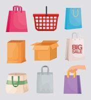 shopping set packings vector