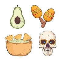 mexican traditionals icons vector