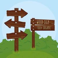 par de señales de madera vector