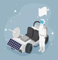 astronaut and cart vector