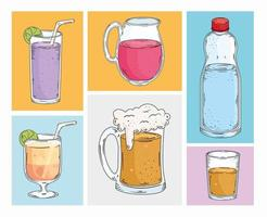 set drinks icons vector