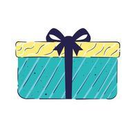 blue gift box present birthday icon vector