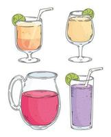 four drinks icons vector