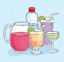 five drinks icons vector