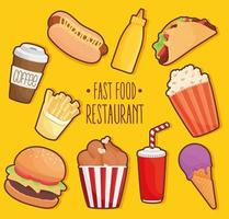 fast food lettering with set icons vector