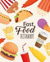 fast food lettering with set icons pattern vector