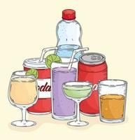 seven drinks icons vector