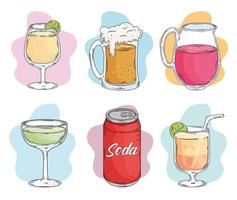 drinks six icons vector