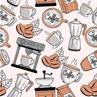 coffee doodle pattern vector