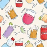 drinks set pattern vector