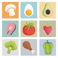 nine healthy food vector