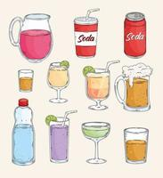 eleven drinks icons vector
