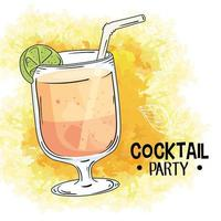 cocktail and lettering vector