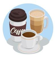 coffee drinks in cup and take away pot icons vector