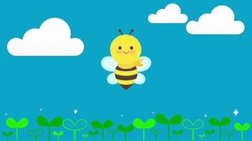 Cute Cartoon Bee Nature Animation Background video