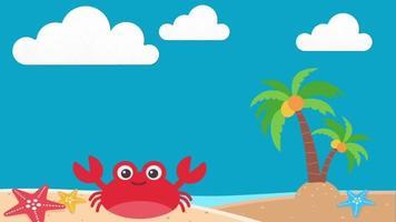 Cartoon Beach Crab Palm Tree Ocean Sand Background Loop video