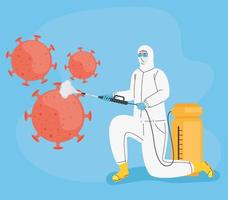 worker with biohazard suit disinfecting and covid19 particles vector