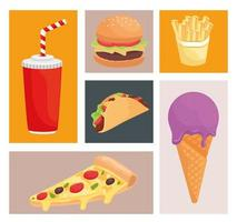 bundle of six fast food products icons vector