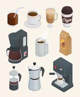 bundle of ten coffee drinks set icons vector