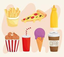 bundle of seven fast food products icons vector