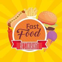 Letras de comida rápida con iconos en marco circular vector