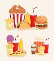 set of fast food products icons vector