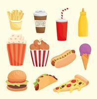 paquete de once iconos de productos de comida rápida vector