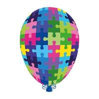 world autism day balloon helium with puzzle pieces vector
