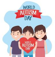 world autism day lettering with little kids lifting heart characters vector