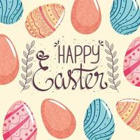 happy easter season card with lettering and eggs painted pattern vector