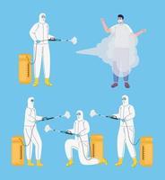 bundle of workers wearing biohazard suits disinfecting vector