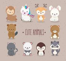 bundle of ten cute animals set icons and lettering vector