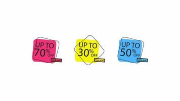 Sale Banner Price Discount Motion Graphics Animation Label Set. Sale 30 , 50 , 70 OFF. Red Price Tag Special Offer Promo Campaign Animation Sticker on white background. video