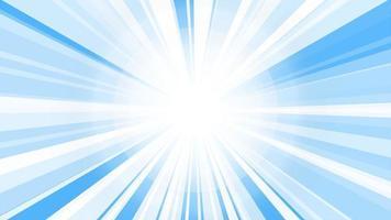 vit sunburst starburst strålar bakgrund. roterande sun ray animation bakgrund. animerad lysande sol mot ljusblå himmel video