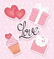 love lettering card with set icons vector