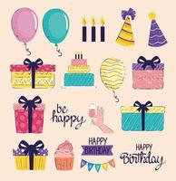 bundle of fourteen happy birthday letterings and icons vector