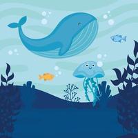 mundo submarino con escena de paisaje marino de ballenas vector