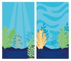 Dos mundos submarinos con escenas de paisajes marinos de algas. vector