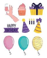 bundle of ten happy birthday letterings and icons vector